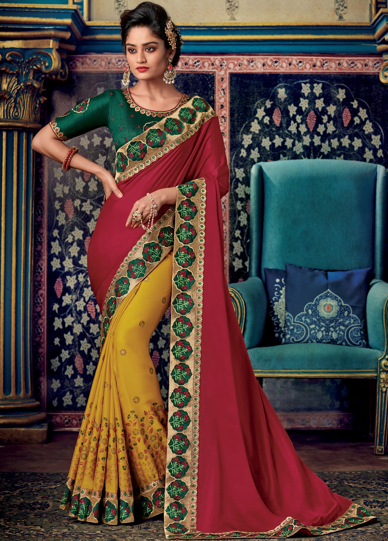 Red & Yellow Color Two Tone Silk Pretty Occasion Wear Sarees NYF-5689
