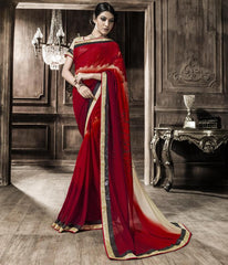Red Color Georgette Party Wear Sarees : Rehan Collection  YF-33455