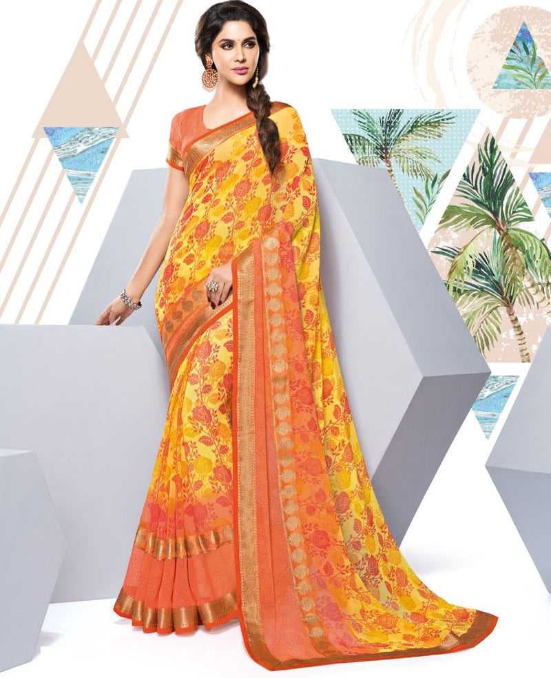 Yellow & Orange Color Georgette Party & Function Wear Sarees : Manohara Collection  NYF-2375 - YellowFashion.in
