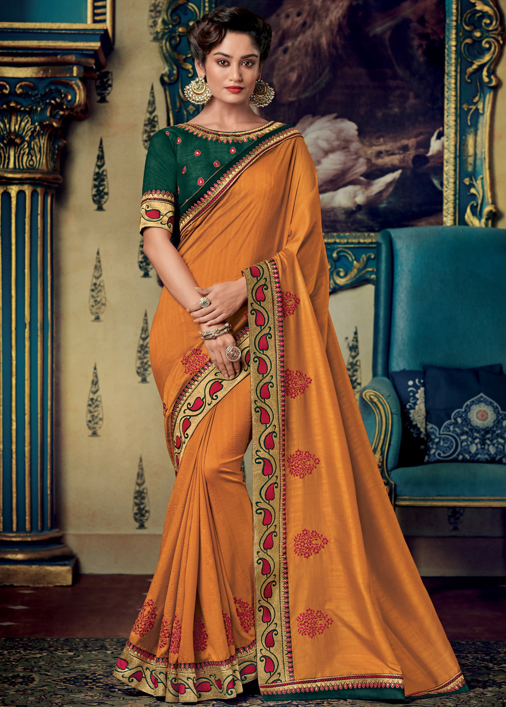 Orange Color Two Tone Silk Pretty Occasion Wear Sarees NYF-5690