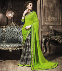 Green Color Georgette Party Wear Sarees : Rehan Collection  YF-33457