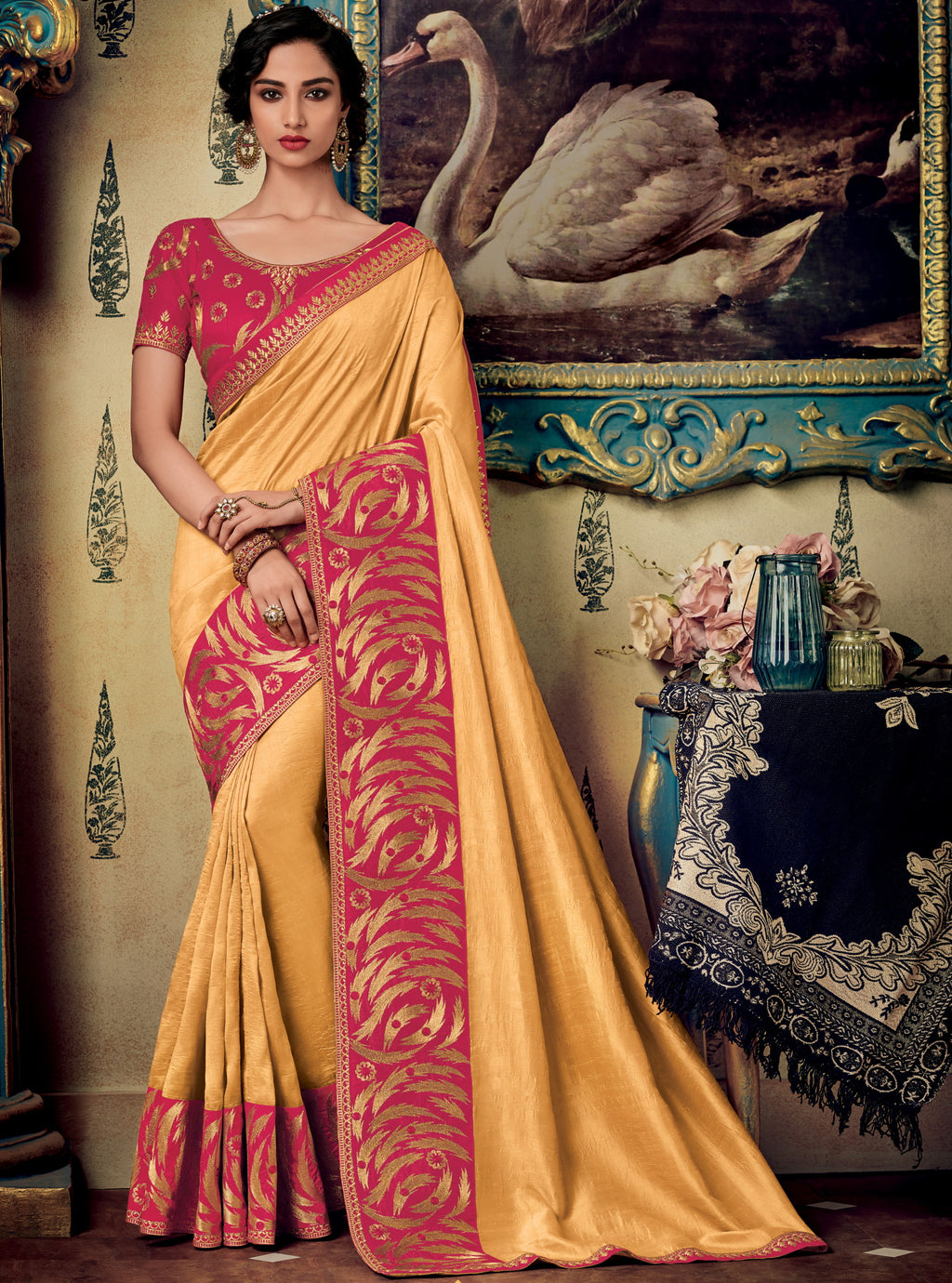 Yellow Color Two Tone Silk Pretty Occasion Wear Sarees NYF-5691