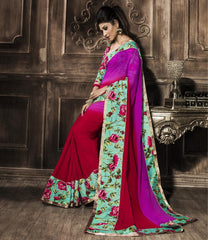 Red & Pink Color Georgette Party Wear Sarees : Rehan Collection  YF-33458