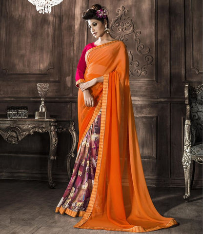 Orange Color Georgette Party Wear Sarees : Rehan Collection  YF-33459