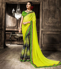 Yellow & Green Color Georgette Party Wear Sarees : Rehan Collection  YF-33460
