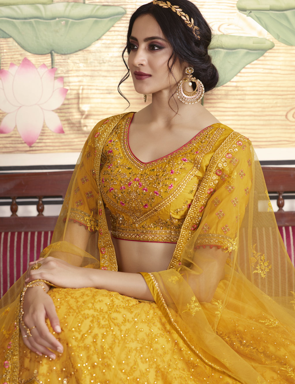 Yellow Color Net Exquisite Party Wear Lehengas NYF-6169