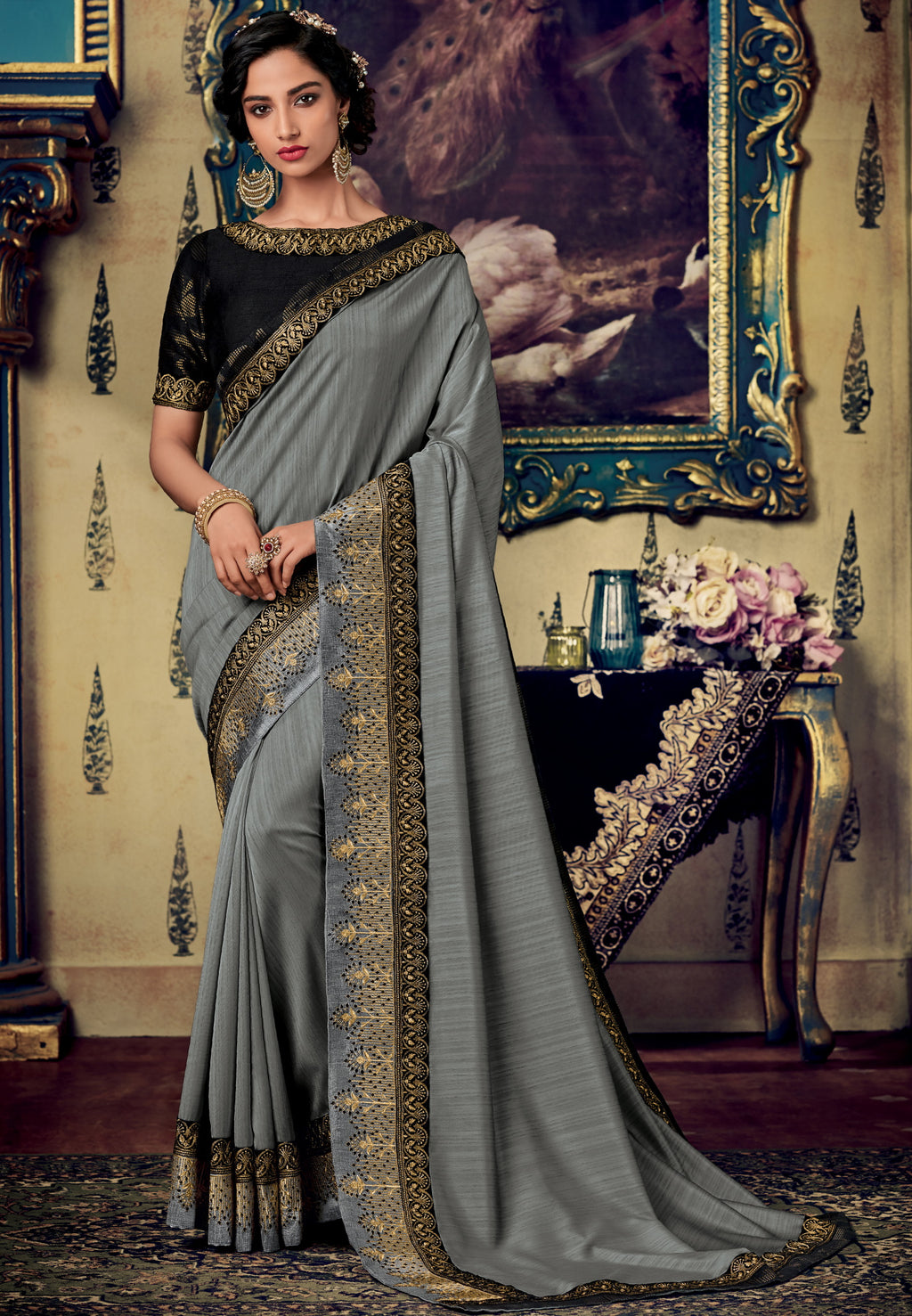 Grey Color Two Tone Silk Pretty Occasion Wear Sarees NYF-5693