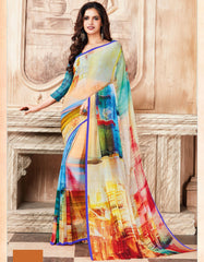 Multi Color Light Weight Georgette Digital Print Sarees : Sohadra Collection  YF-58003