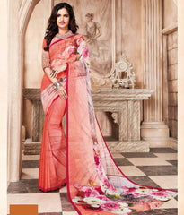Shades Of Peach & Pink Color Light Weight Georgette Digital Print Sarees : Sohadra Collection  YF-58004