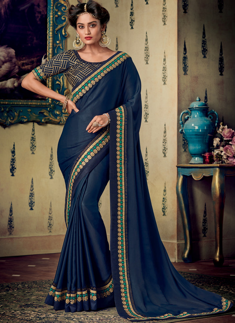 Blue Color Two Tone Silk Pretty Occasion Wear Sarees NYF-5694
