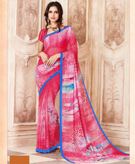 Pink Color Light Weight Georgette Digital Print Sarees : Sohadra Collection  YF-58005