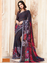 Black Color Light Weight Georgette Digital Print Sarees : Sohadra Collection  YF-58006