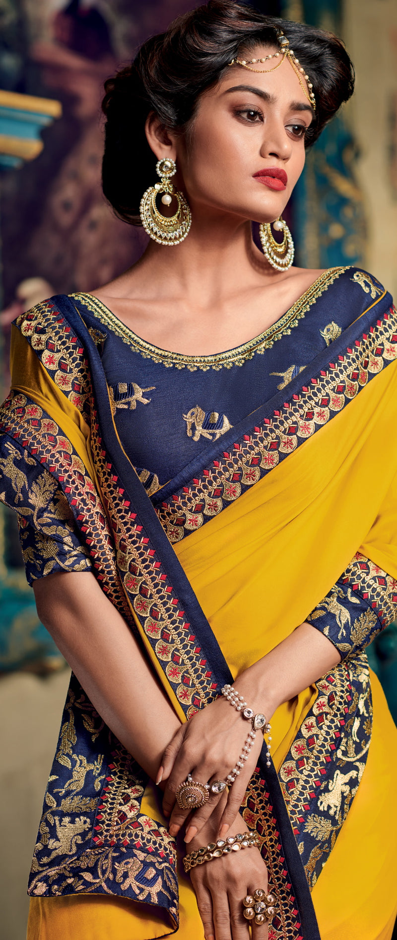Yellow Color Crepe Silk Pretty Occasion Wear Sarees NYF-6400