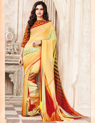 Yellow Color Light Weight Georgette Digital Print Sarees : Sohadra Collection  YF-58007