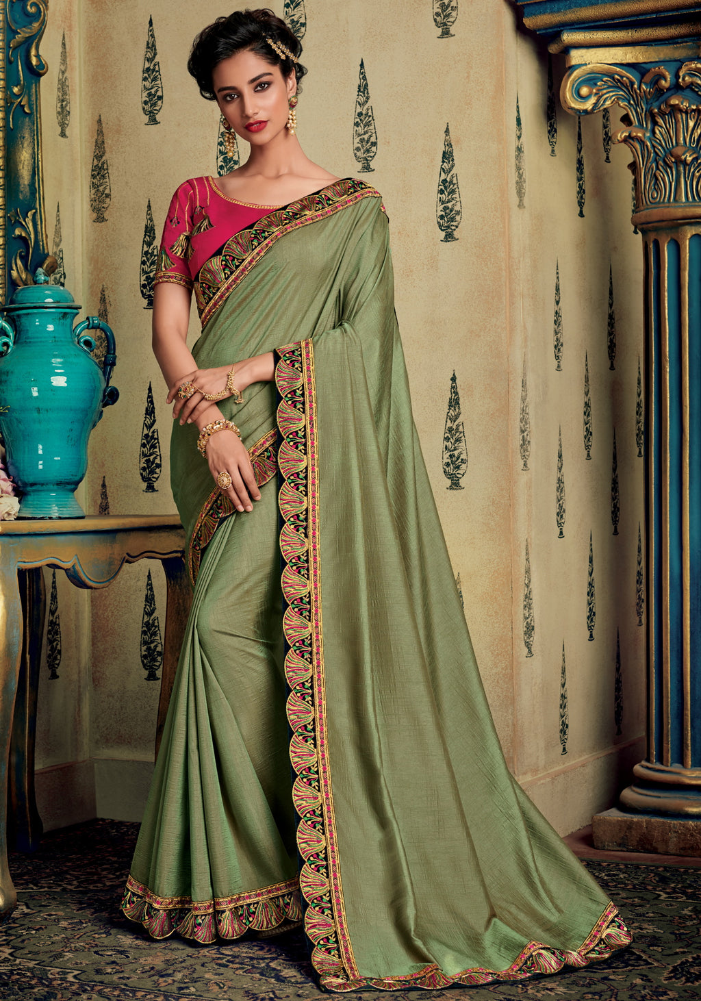 Moss Green Color Wrinkle Crepe Pretty Occasion Wear Sarees NYF-6401