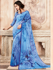 Blue Color Light Weight Georgette Digital Print Sarees : Sohadra Collection  YF-58008
