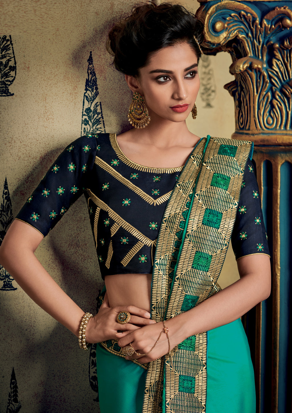 Sea Green Color Two Tone Silk Pretty Occasion Wear Sarees NYF-5695