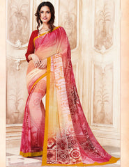 Multi Color Light Weight Georgette Digital Print Sarees : Sohadra Collection  YF-58009
