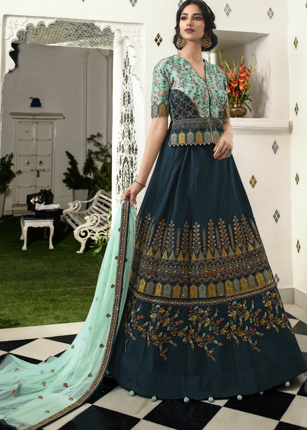Blue Color Raw Silk Exquisite Party Wear Lehengas NYF-6170