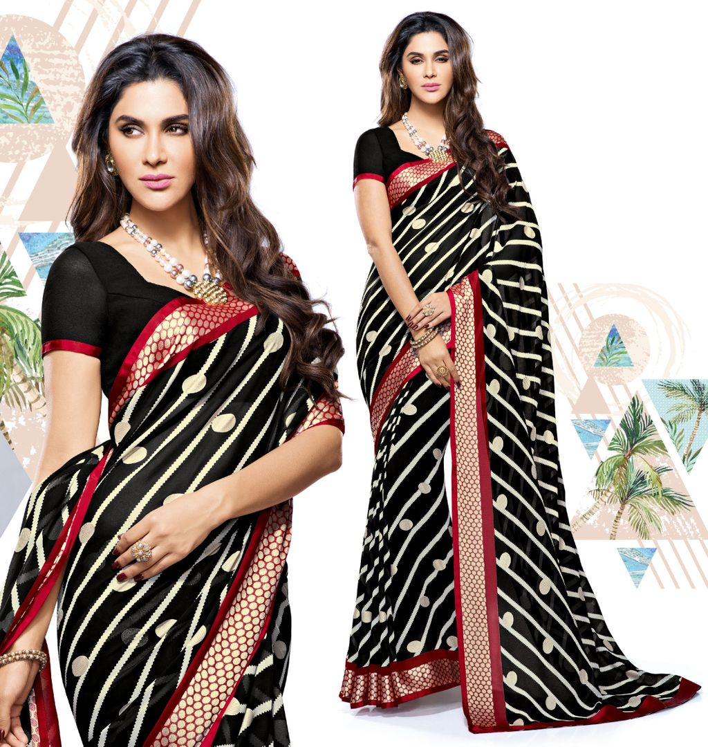 Black Color Chiffon Party & Function Wear Sarees : Manohara Collection  NYF-2379 - YellowFashion.in