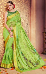 Green Color Georgette Designer Party Wear Sarees : Krisnita Collection  YF-57238