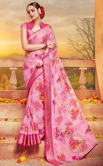 Pink Color Georgette Designer Party Wear Sarees : Krisnita Collection  YF-57239