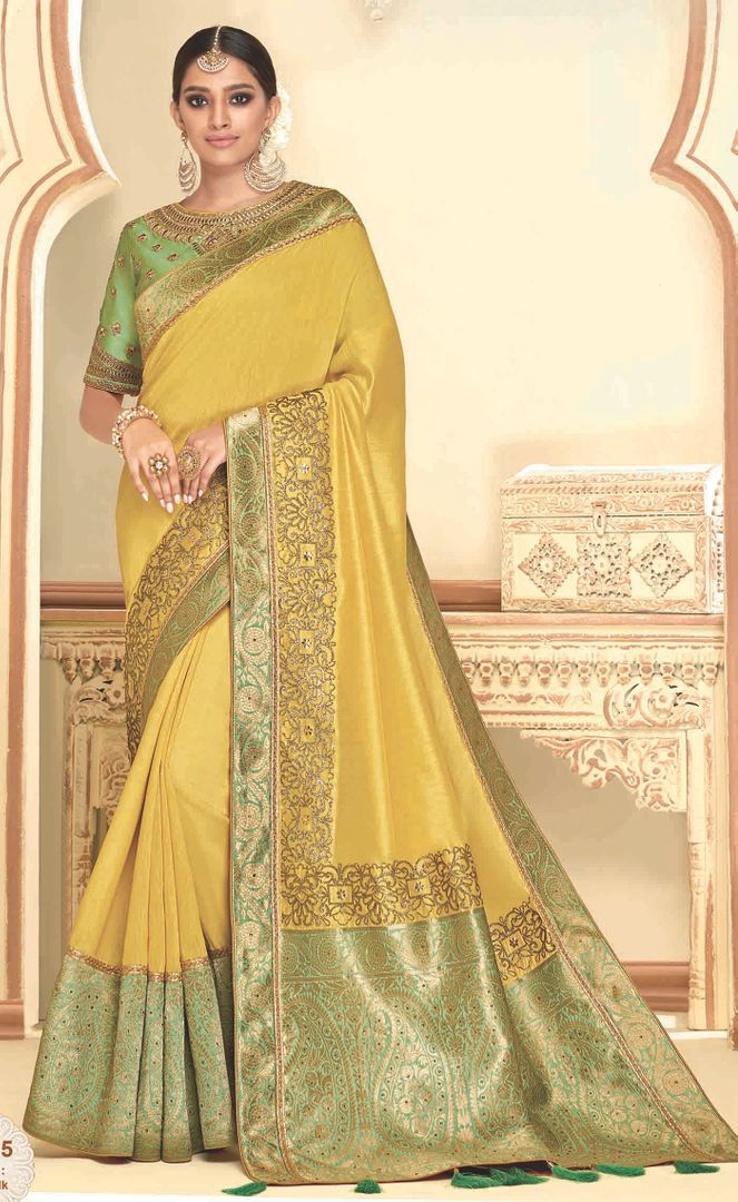 Yellow Color Raw Silk Designer Party Wear Sarees : Akrinta Collection  NYF-3089 - YellowFashion.in