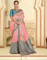 Pink Color Raw Silk Designer Party Wear Sarees : Akrinta Collection  NYF-3090