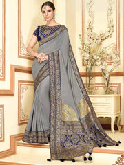Grey Color Raw Silk Designer Party Wear Sarees : Akrinta Collection  NYF-3092