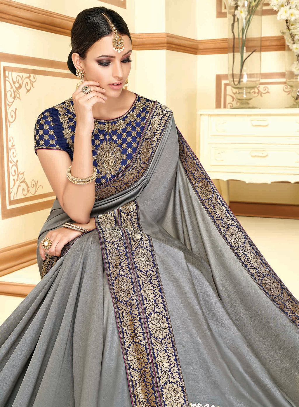 Grey Color Raw Silk Designer Party Wear Sarees : Akrinta Collection  NYF-3092 - YellowFashion.in