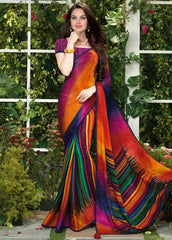Orange And Pink Color Jacquard Crepe Casual Function Sarees : Vani Collection  YF-24894