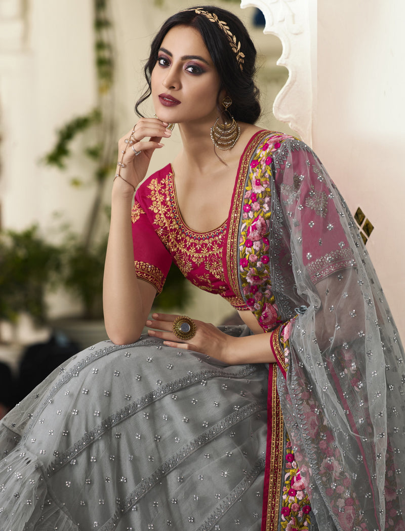 Grey Color Net Exquisite Party Wear Lehengas NYF-6171
