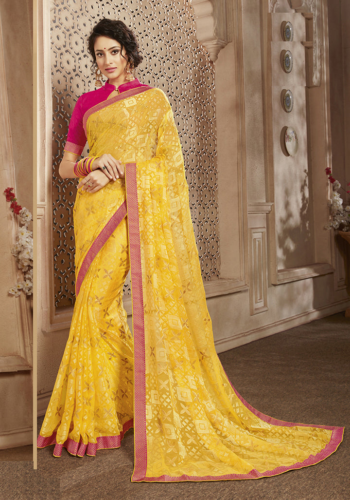 Yellow Color Georgette Brasso Party Wear Sarees NYF-8268