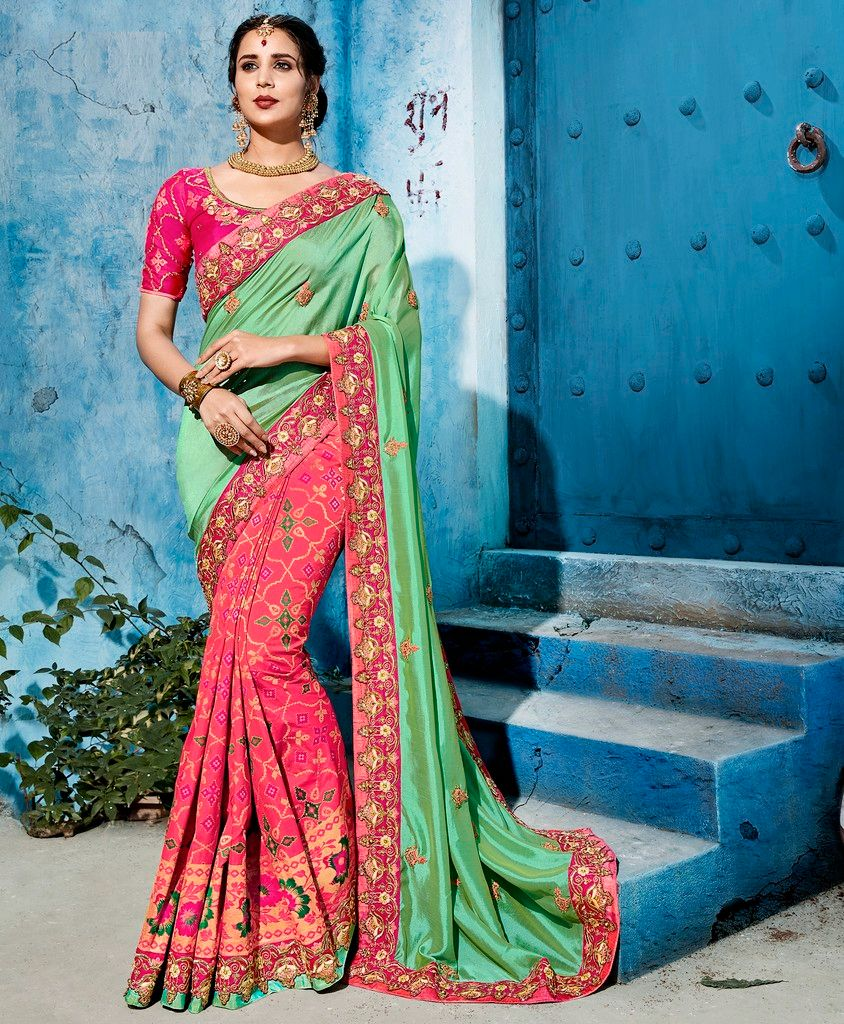 Green & Pink Color Raw Silk Designer Wedding Wear Sarees : Pakhudi Collection  NYF-1528 - YellowFashion.in
