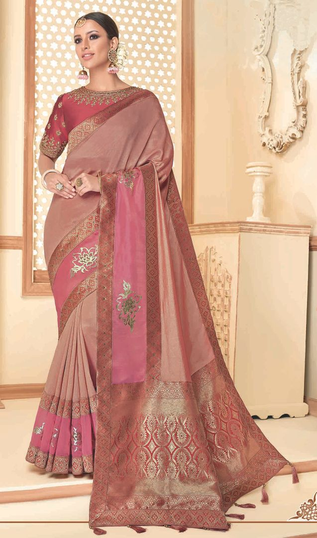 Peach Color Raw Silk Designer Party Wear Sarees : Akrinta Collection  NYF-3094 - YellowFashion.in