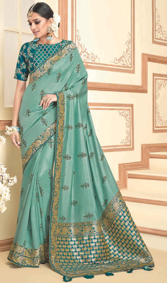 Sea Green Color Raw Silk Designer Party Wear Sarees : Akrinta Collection  NYF-3095 - YellowFashion.in