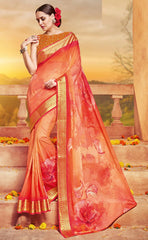 Orange Color Georgette Designer Party Wear Sarees : Krisnita Collection  YF-57247