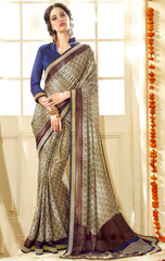 Cream & Blue Color Crepe Party Wear Sarees : Shorya Collection  YF-57965