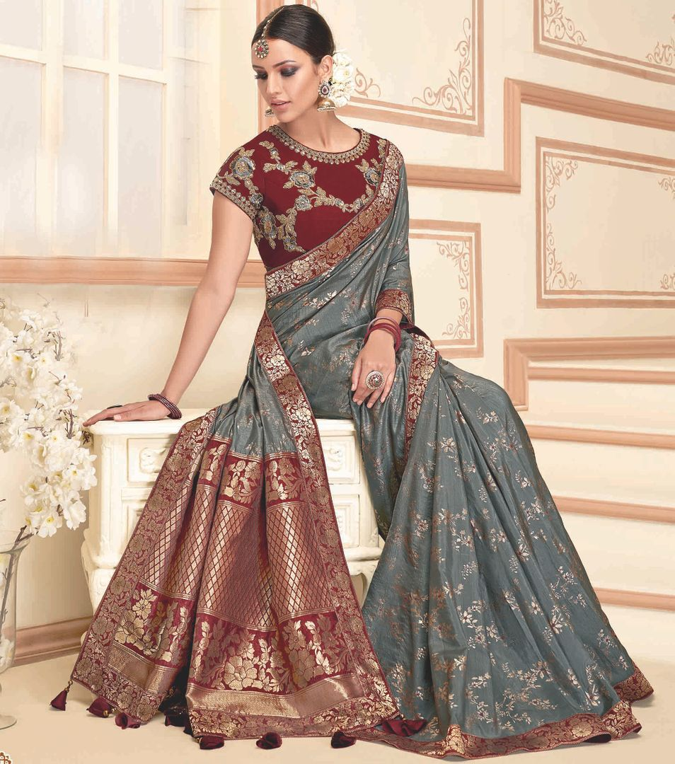Grey Color Raw Silk Designer Party Wear Sarees : Akrinta Collection  NYF-3100 - YellowFashion.in