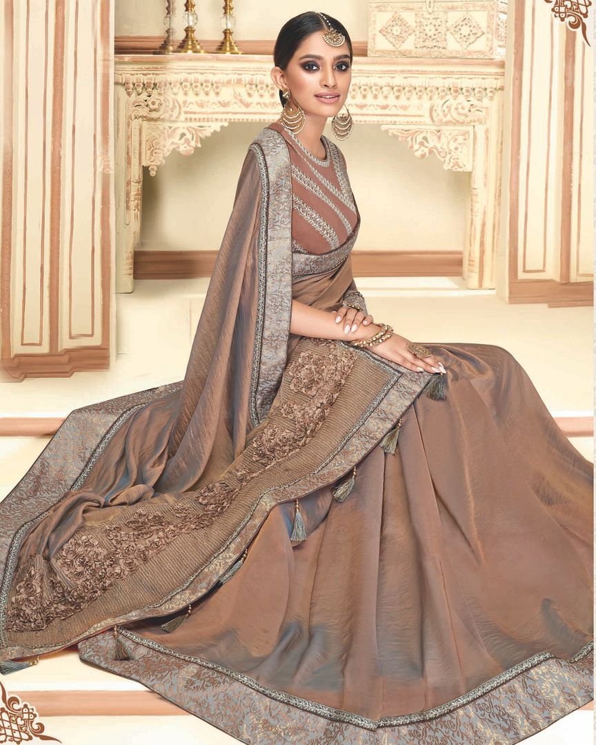 Copper Color Raw Silk Designer Party Wear Sarees : Akrinta Collection  NYF-3101 - YellowFashion.in
