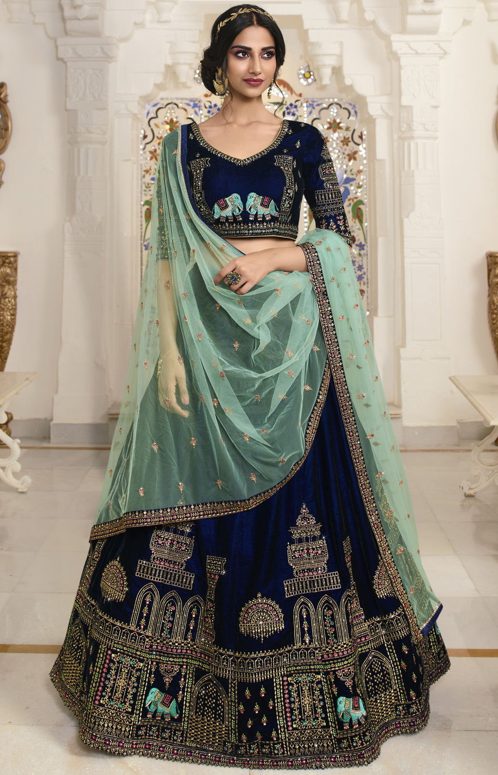 Blue Color Velvet Exquisite Party Wear Lehengas NYF-6172
