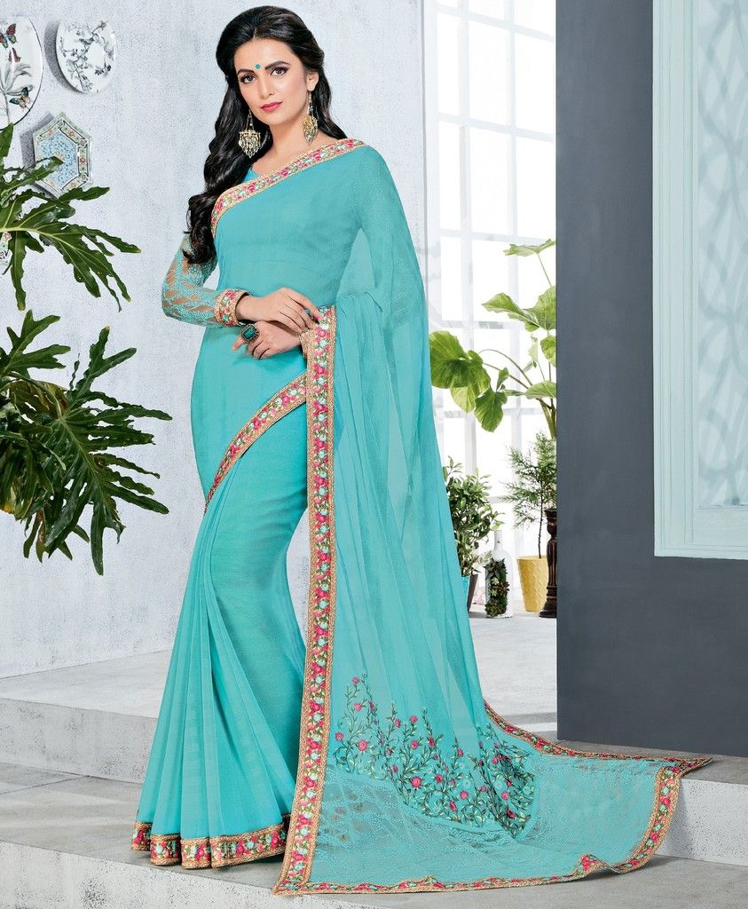 Aqua Blue Color Half Wrinkle Chiffon & Half Net Designer Festive Sarees : Preyashi Collection  NYF-1308 - YellowFashion.in