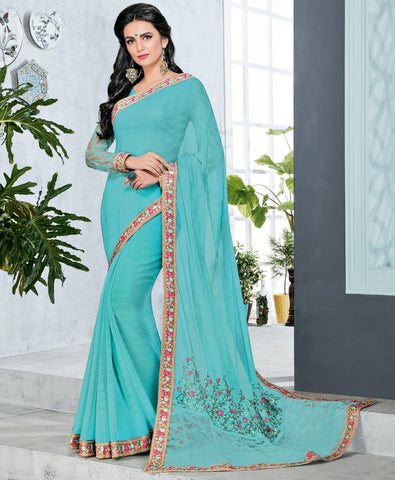 Aqua Blue Color Half Wrinkle Chiffon & Half Net Designer Festive Sarees : Preyashi Collection  NYF-1308