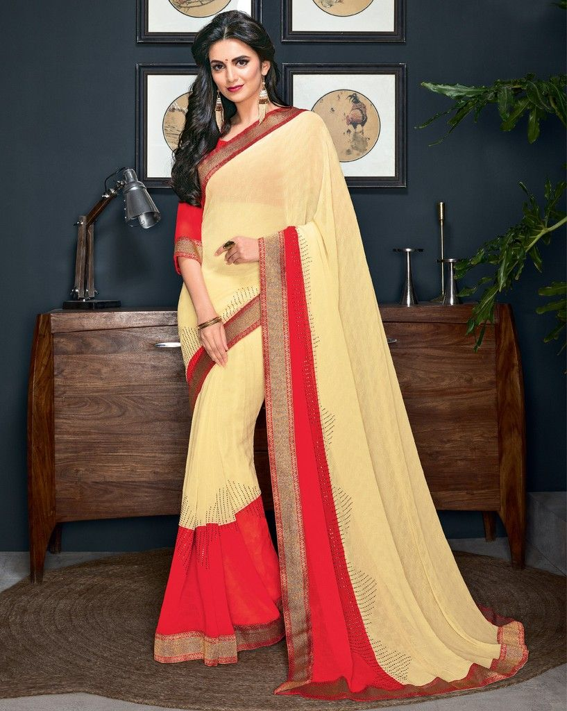 Cream & Red Color Chiffon Designer Festive Sarees : Preyashi Collection  NYF-1307 - YellowFashion.in
