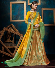 Yellow Color Banarasi Silk Designer Lehenga For Wedding Function : Svaranjali Collection  YF-57559