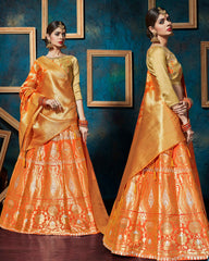 Orange Color Banarasi Silk Designer Lehenga For Wedding Function : Svaranjali Collection  YF-57561