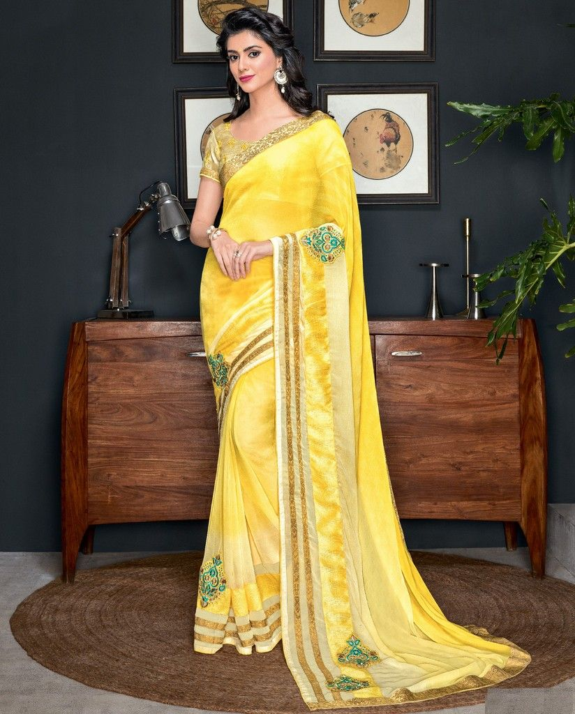 Yellow Color Chiffon Designer Festive Sarees : Preyashi Collection  NYF-1311 - YellowFashion.in
