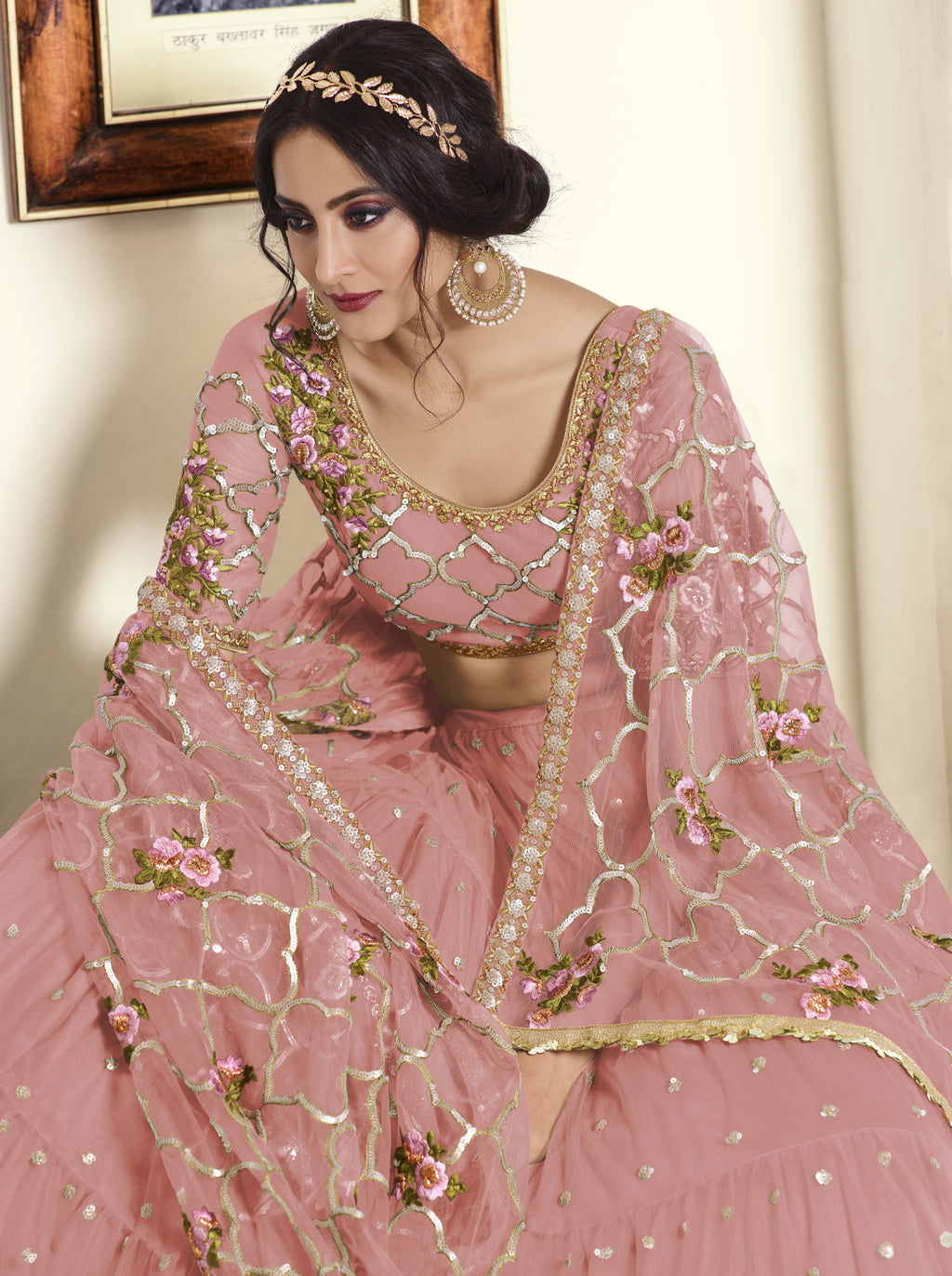 Pink Color Net Exquisite Party Wear Lehengas NYF-6174