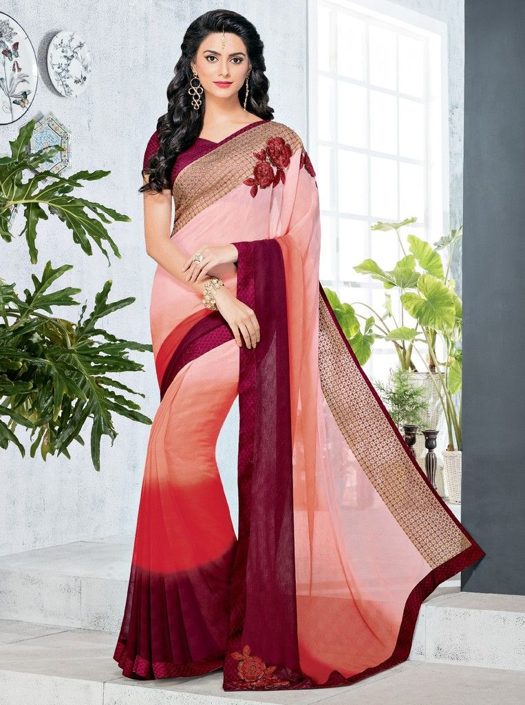 Peach & Pink Color Chiffon Designer Festive Sarees : Preyashi Collection  NYF-1312 - YellowFashion.in