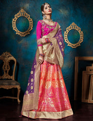 Purple & Pink Color Banarasi Silk Designer Lehenga For Wedding Function : Svaranjali Collection  YF-57565